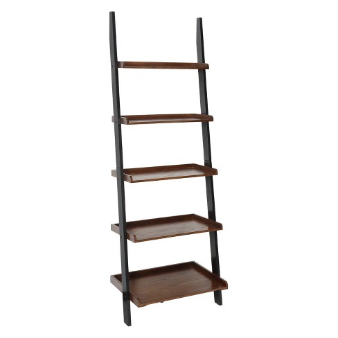 Johar Furniture 72 French Country Ladder Bookshelf Dark Walnut Black