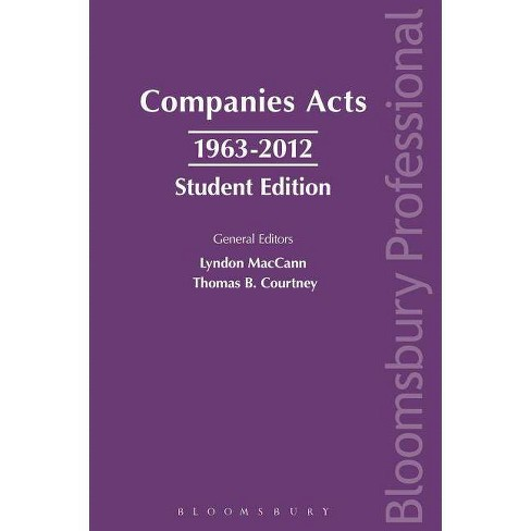 Companies Acts 1963-2012: Student Edition - by  Lyndon Mac Cann & Thomas B Courtney (Paperback) - image 1 of 1