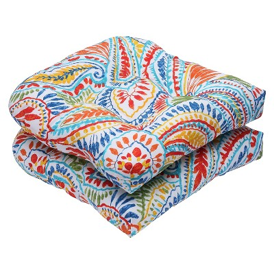 Pillow Perfect™ Ummi 2-Piece Outdoor Wicker Seat Cushion Set - Multicolored