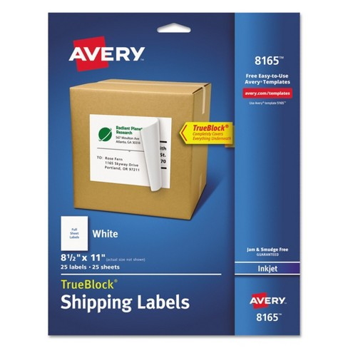Avery® 08165, Shipping Labels with Ultrahold Ad & TrueBlock, Inkjet, 8 1/2 x 11, White, 25pk - image 1 of 3