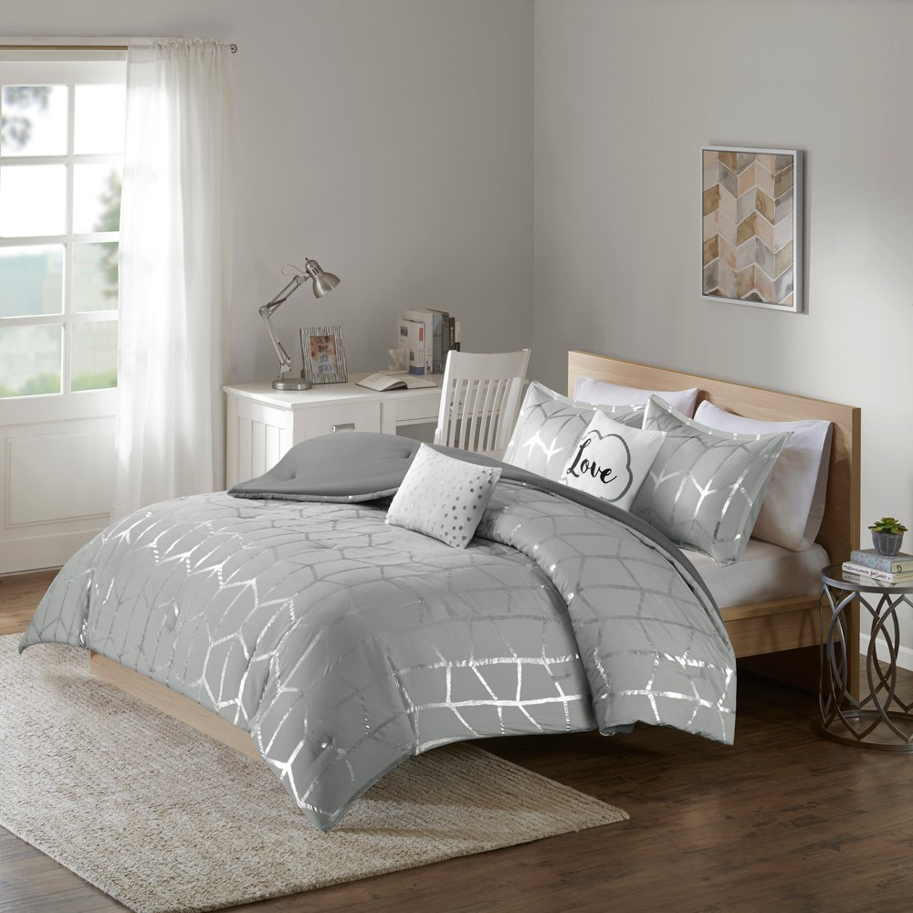 Gray & Silver Arielle Brushed Comforter Set (Twin/Twin XL) 4pc, Gray/Silver