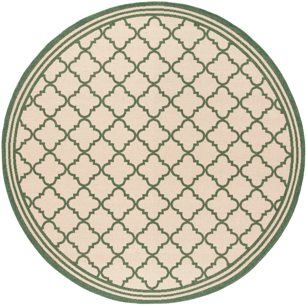 6 7 Quatrefoil Design Loomed Round Area Rug Cream Green Safavieh