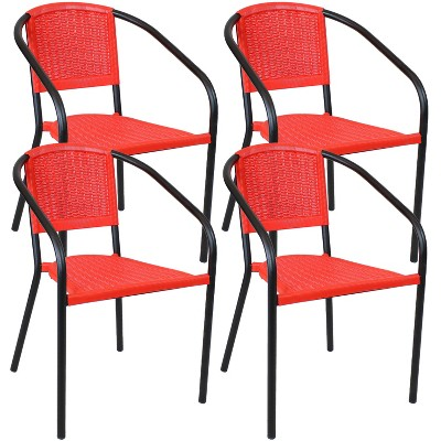 Aderes 4pk Steel and Polypropylene Outdoor Arm Chair - Black and Red - Sunnydaze Decor