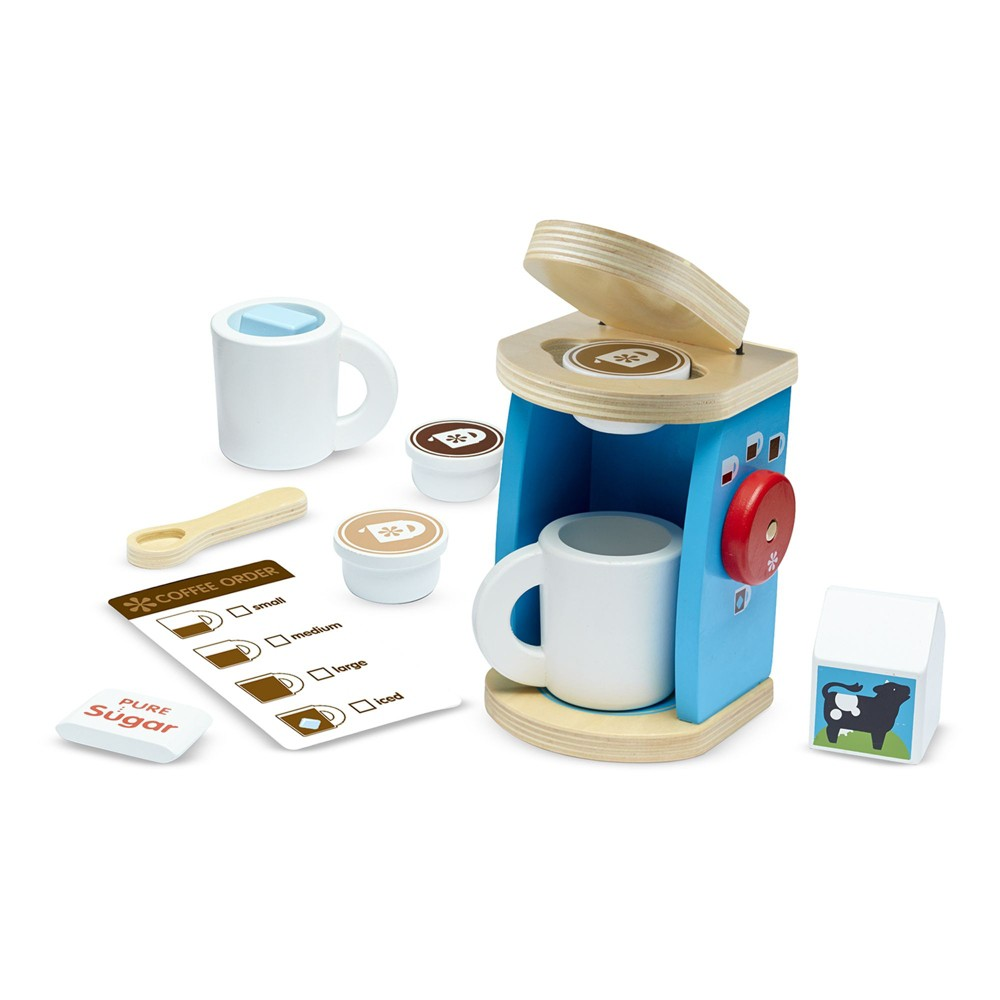 Melissa & Doug 11-Piece Brew and Serve Wooden Coffee Maker Set - Play Kitchen Accessories
