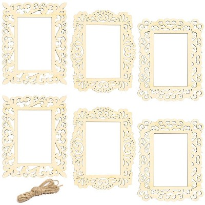 6 Packs Unfinished Wood Frames with Jute String, Wooden Frame Cutout for DIY Craft Home Decoration Project, 3 Designs, 7 x 8.5 inches