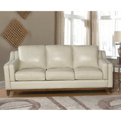 Allie Top Grain Leather Sofa   Cream   Abbyson