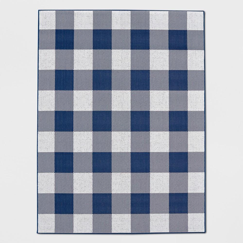 7' x 10' Buffalo Plaid Outdoor Rug Navy (Blue) - Threshold
