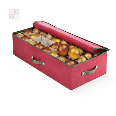 OSTO Underbed Christmas Ornament Storage Box Stores Up to 64 Holiday Ornaments of 3 in; Non-Woven Fabric with handles and 2-way zipper