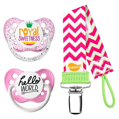 Ulubulu ® 2 pk Pacifiers Royal Sweetness & Hello World with 1 pk Chevron Pacifier Clip (0-6 Months)