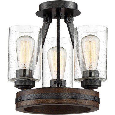"""Franklin Iron Works Industrial Ceiling Light Semi Flush Mount Fixture Iron Gray 12"""" Wide 3-Light Faux Wood Seeded Glass Bedroom"""