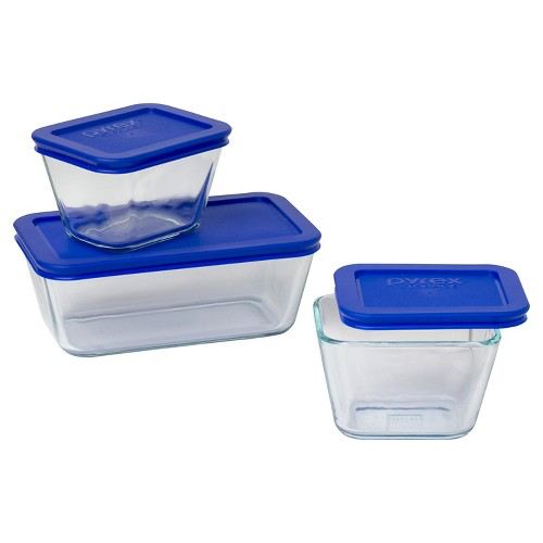 Pyrex 6pc Value Pack Glass Food Storage Containers, Blue