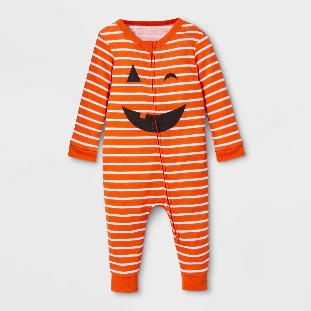 Image of Baby Family Pajama Halloween Pumpkin Union Suit - Orange 6-9M, Adult Unisex