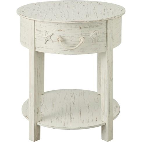 Sanibel Coastal 1 Drawer Accent Table White Treasure Trove