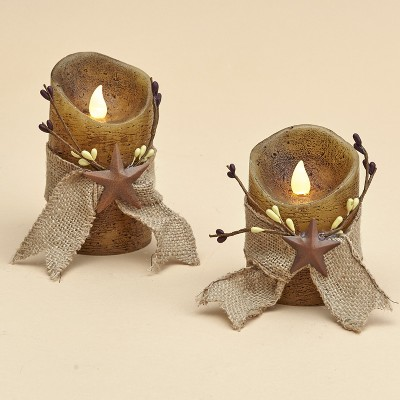 Lakeside Primitive Country Star LED Candles with Ribbon Wrap - Set of 2