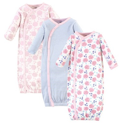 Touched by Nature Baby Girl Organic Cotton Kimono Long-Sleeve Gowns 3pk, Pink Rose, Preemie
