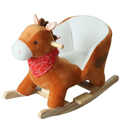 Qaba Kids Ride On Rocking Horse Sturdy Wooden Constructure with Songs for Boys or Girls