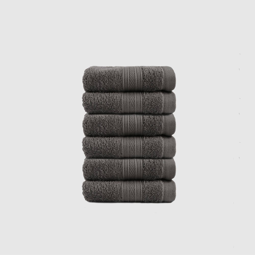 6pc Feather Touch Cotton Washcloth Set Charcoal Trident Group