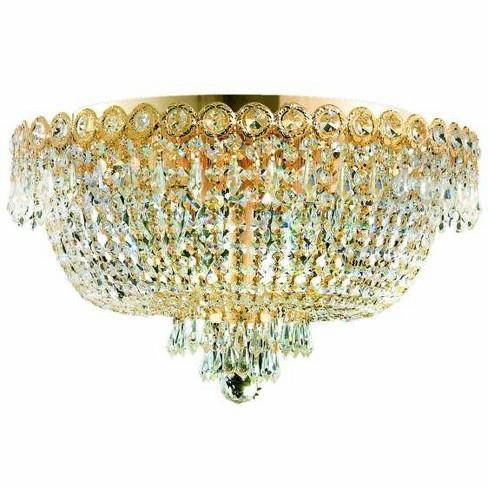 Elegant Lighting 1900F18G Century 6-Light, Single-Tier Flush Mount Crystal Chandelier, Finished in Gold - image 1 of 1
