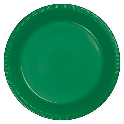 "Emerald Green Plastic 7"" Dessert Plates - 20ct"
