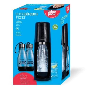 SodaStream Fizzi Soda Maker with CO2 Carbonator and 2 Extra Bottles - Black
