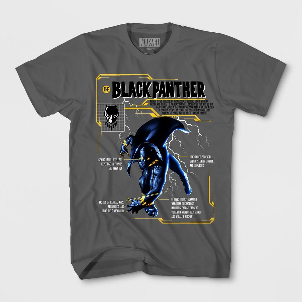 Boys' Black Panther Short Sleeve T-Shirt - Charcoal S, Gray