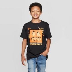 Boys' Minecraft Halloween Short Sleeve T-Shirt - Black