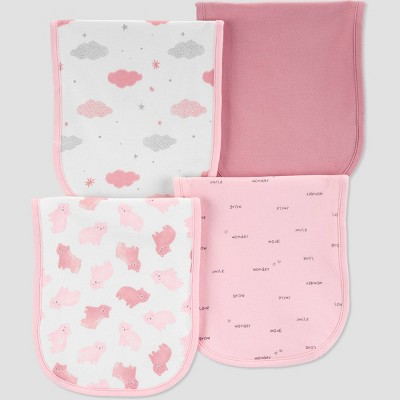 Baby Girls' 4pk Burp Cloth - Just One You® made by carter's Pink One Size