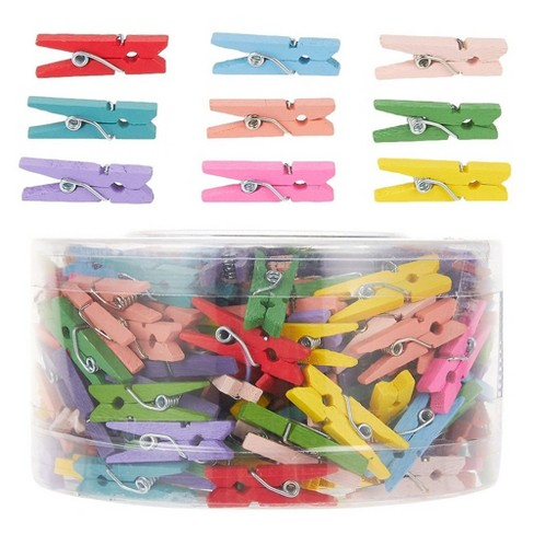 """Juvale 300-Count Mini Wooden Clothes Pins, Small 1"""" Colorful Clothespins Photo Pegs for Postcards, Pictures, Art Projects, DIY Crafts, Party Supplies - image 1 of 2"""