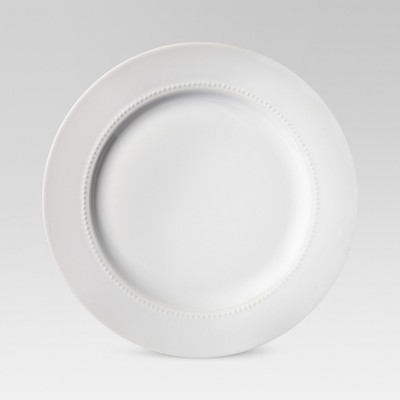 "11"" Porcelain Beaded Rim Dinner Plate White - Threshold™"