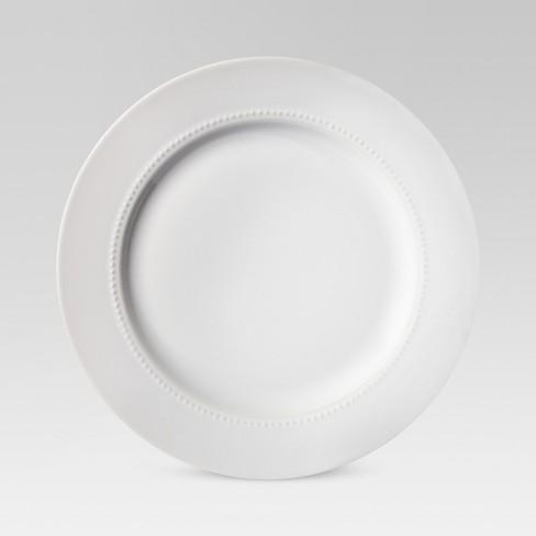 """11"""" Porcelain Beaded Rim Dinner Plate White - Threshold™ - image 1 of 4"""