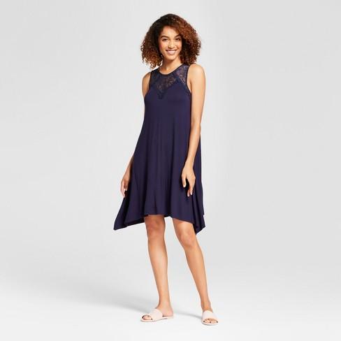 102484ba72c0 Women's Lace Detail Swing Dress - Spenser Jeremy Dark Blue L : Target