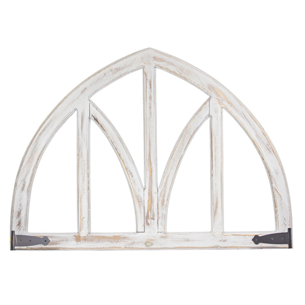 Image of Arched Metal And Wood Wall Decor White - E2 Concepts