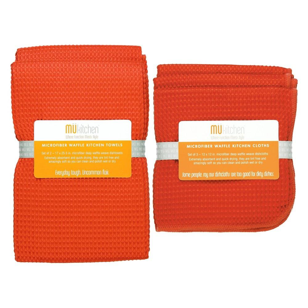 Image of Set of 5 Ultra Absorbent Microfiber Waffle Kitchen Towel And Dish Cloth Set Orange - Mu Kitchen