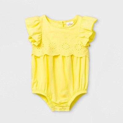 Baby Girls' Eyelet Bubble Romper - Cat & Jack™ Yellow 0-3M