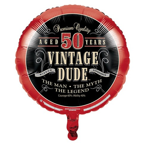 Vintage Dude 50th Birthday Mylar Balloon Target