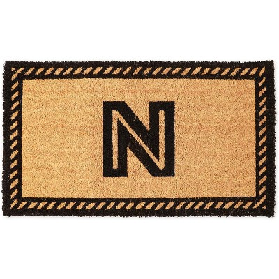 Monogrammed Door Mat with Letter N Nonslip Coir Welcome Mat (17 x 30 Inches)