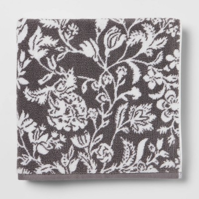 Performance Bath Towel Dark Gray Floral - Threshold™