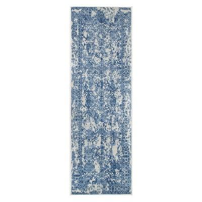 Blue Solid Loomed Runner 2'6 X8' - nuLOOM