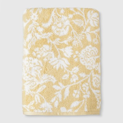 Performance Texture Bath Sheet Yellow Floral - Threshold™