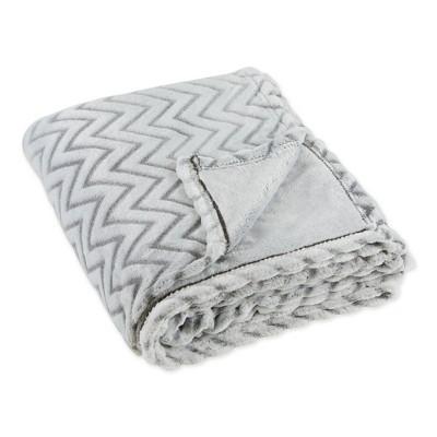 """50""""x60"""" Chevron Plush Throw Blanket Gray - Design Imports"""