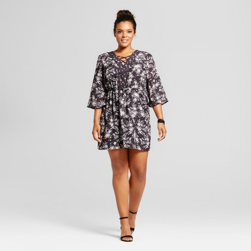 Womens Plus Size Floral Cross Front Bell Sleeve A Line Dress