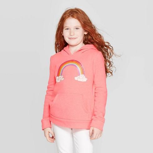 Girls' Long Sleeve Rainbow Fleece Hoodie - Cat & Jack™ Neon Coral - image 1 of 3