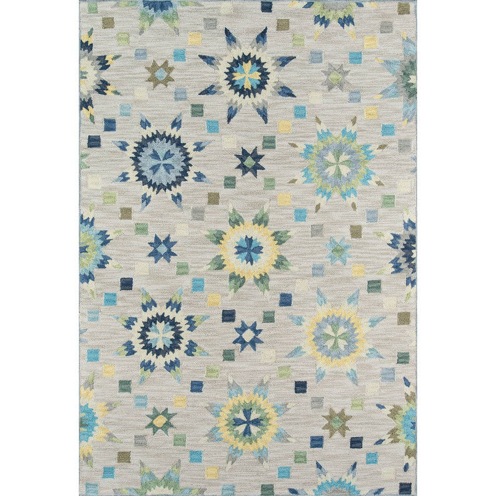 Sterling Gray Geometric Hooked Area Rug 5'x7'6 - Momeni
