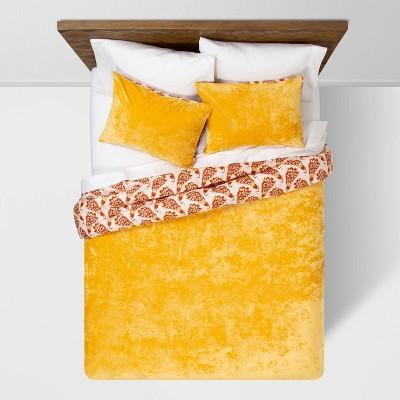Amber Reversible Velvet Peacock Print K Comforter & Sham Set - Opalhouse™