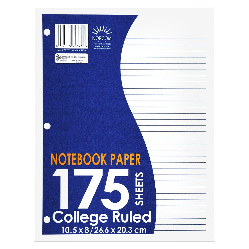 Norcom Filler Paper College Ruled 175ct White