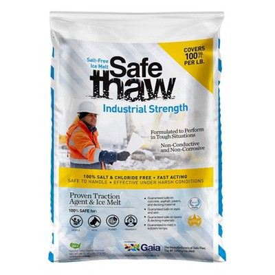 Safe Paw Thaw Industrial Strength Salt Free Pet Safe Snow Ice Melter and Traction Agent for Concrete, Asphalt, Decks, Lawns, and More, 43 Pound Bag