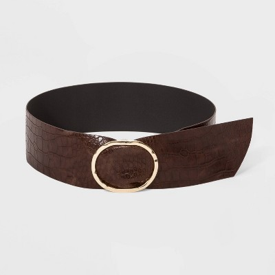 Women's Hammered Buckle Embossed Sash Belt - A New Day™ Brown