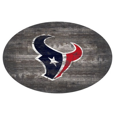 "NFL Houston Texans Fan Creations 46"" Distressed Wood Oval Sign"