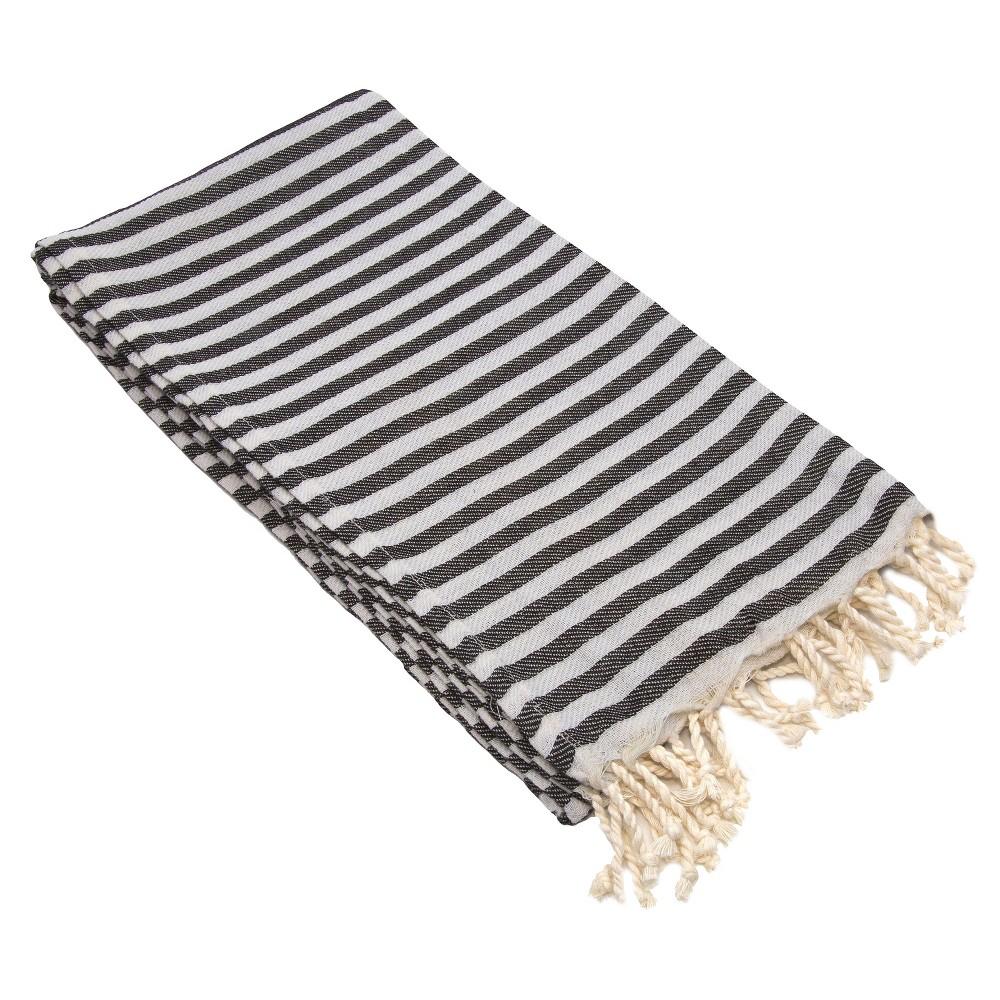 Image of Fun in the Sun Pestemal Beach Towel Charcoal (Grey)