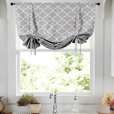 Kate Aurora Gray & White Lattice Clover Ultra Luxurious Tie Up Window Curtain Shades - 42 in. W x 63 in. L